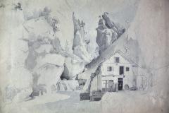 Schneelandschaft mit Haus und Hof - Ein Gemälde von Friedrich August de Leuw