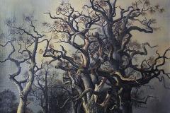 Großer Baum mit vielen Ästen und kleinem See - Ein Gemälde von Friedrich August de Leuw