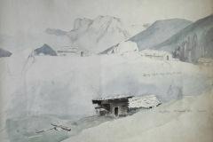 Schneelandschaft mit Hütte - Ein Gemälde von Friedrich August de Leuw