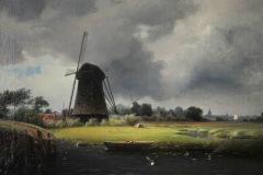 Windmühle auf Weide und See - Ein Gemälde von Friedrich August de Leuw